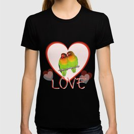 Two loving lovebirds with hearts T-shirt