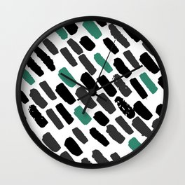 Oblique dots black and white green Wall Clock