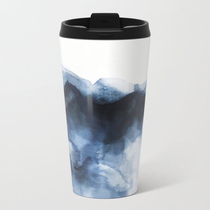 Abstract Indigo Mountains Metal Travel Mug