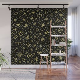Zodiac symbols and glyphs Gold on black Wall Mural