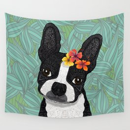 Tropical Boston Terrier Girl Wall Tapestry
