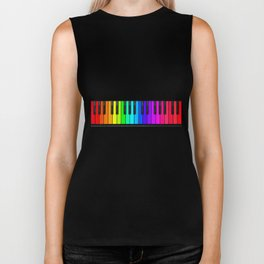 Rainbow Piano Keyboard  Biker Tank