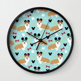 Corgi theme park lover dog breed pattern gifts Wall Clock
