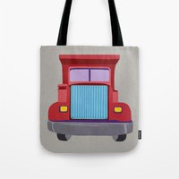 truck Tote Bags featuring red truck by elvia montemayor
