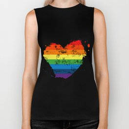 LGBT Pride Love Heart Rainbow Flag Vintage Biker Tank
