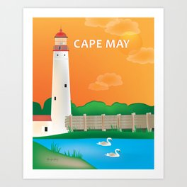 Cape May, New Jersey - Skyline Illustration by Loose Petals Art Print