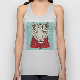Merry Christmas New Year's card design Tiger head in a red knitted sweater and a scarf. Sketch Unisex Tank Top