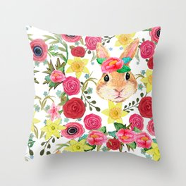 Easter rabbit with spring flowers, watercolor Throw Pillow