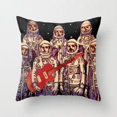 Astronauts with Guitar Throw Pillow