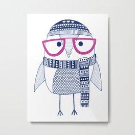 Hipster owl - pink glasses Metal Print