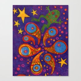 Space Frog batik Canvas Print