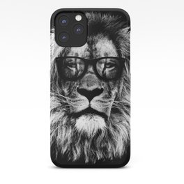 Hipster Lion Black iPhone Case