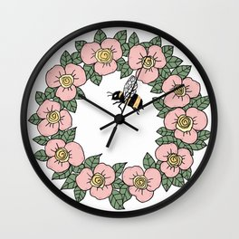 BE - floral wreath Wall Clock