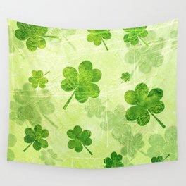 Green Shamrocks Wall Tapestry