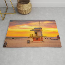 Clearwater Beach Ocean Sunrise Lifeguard Hut Yellow Sky Summer Print Rug