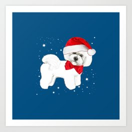 Bichon Frise red christmas holiday themed pattern print pet friendly dog breed gifts Art Print