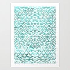 Watercolor Mermaid Turquoise Art Print