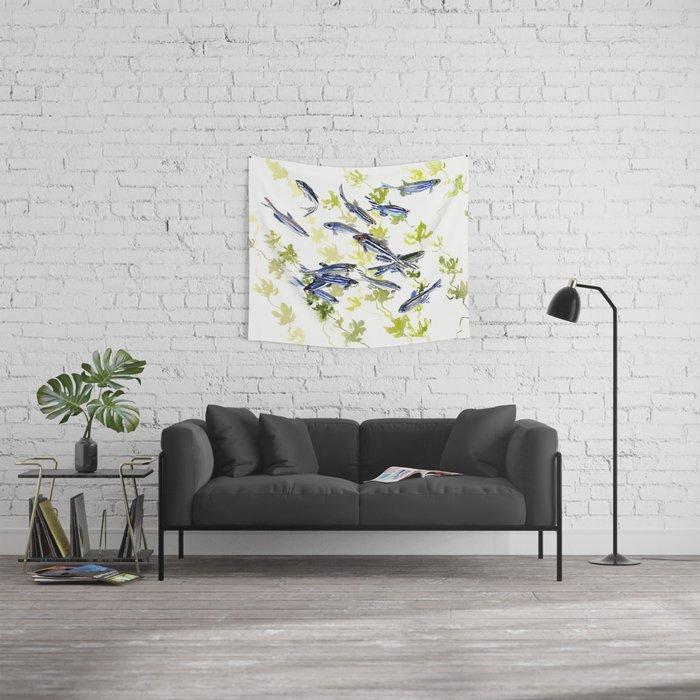 Fish Blue Gray Zebrafish, Danio Aquarium Aquatic Design Underwater Scene  Wall Tapestry