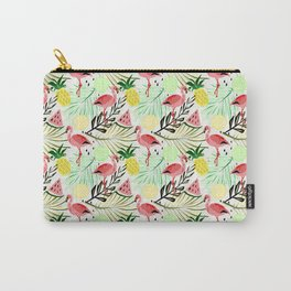 Pink flamingos and fruit. Carry-All Pouch