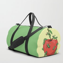 Funny worms in the apple  Duffle Bag