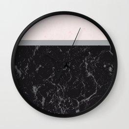 Grey Black Marble Meets Romantic Pink #1 #decor #art #society6 Wall Clock