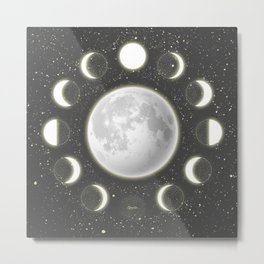 Telescope Dreamy Shine-Phases of the Moon Metal Print