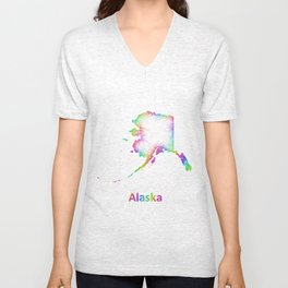 Rainbow Alaska map Unisex V-Neck