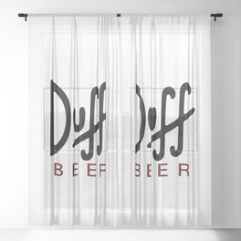 Duff Beer Logo Black Sheer Curtain