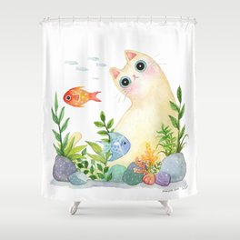 The Aquarium Cat Shower Curtain