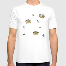 Cat print - Floating Through Space White LARGE Mens Fitted Tee