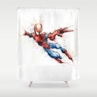 spider man Shower Curtains featuring Spider-Man by Nicola Girello