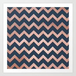 Blue & Pink Chevron Art Print