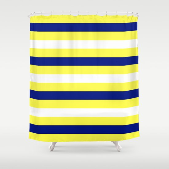 Nautical Stripe In Yellow White And Navy Shower Curtain By Brown Eyed Lady