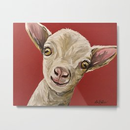 Cute Goat Art, Farm Animal Metal Print