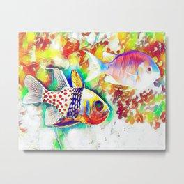 Rainbow Fish Art Metal Print