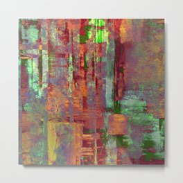 Overexposed - Abstract, textured painting in brown, orange and green Metal Print