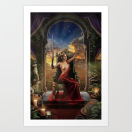 XI. Justice Tarot Card Illustration (Color) Art Print