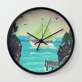 Sailboat in The Cove Wall Clock