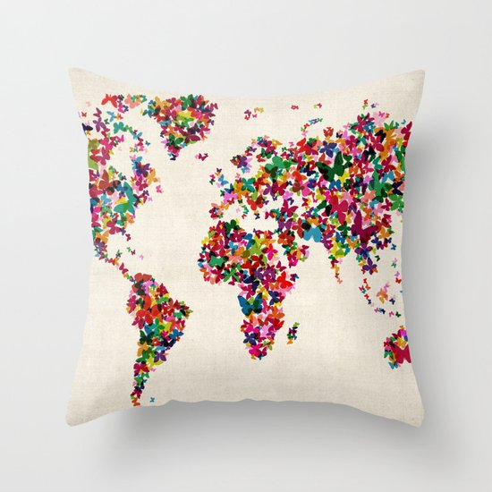 Butterflies Map of the World Map Throw Pillow