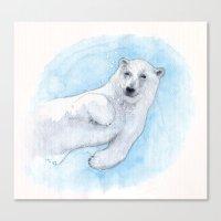 polar bear Canvas Prints featuring Polar bear underwater by Savousepate