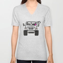 Jeep Wave White - Girl Unisex V-Neck