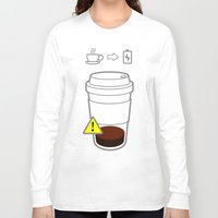 coffe Long Sleeve T-shirts featuring Warning coffe low by Komrod