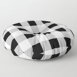 western country french farmhouse black and white plaid tartan gingham print Floor Pillow