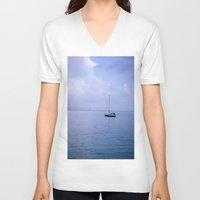 sailboat V-neck T-shirts featuring Sailboat by lennyfdzz