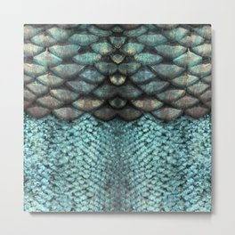 Mermaid Scales Dreamy Sea Blue Metal Print