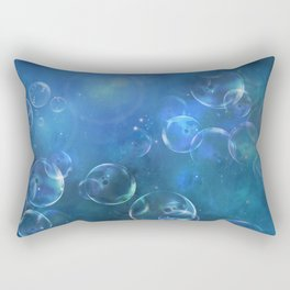 floating bubbles blue watercolor space background Rectangular Pillow