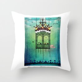travelling with elephants Throw Pillow