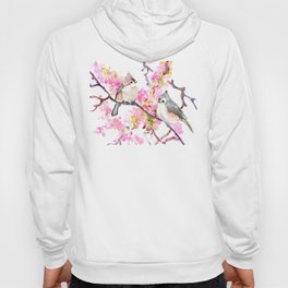 Titmice and Cherry Blossom, spring bird cottage style pink gray design Hoody