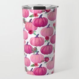 pink pumpkin fall watercolor, Thanksgiving Travel Mug