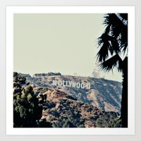 hollywood Art Prints featuring Hollywood  by sam may create.
